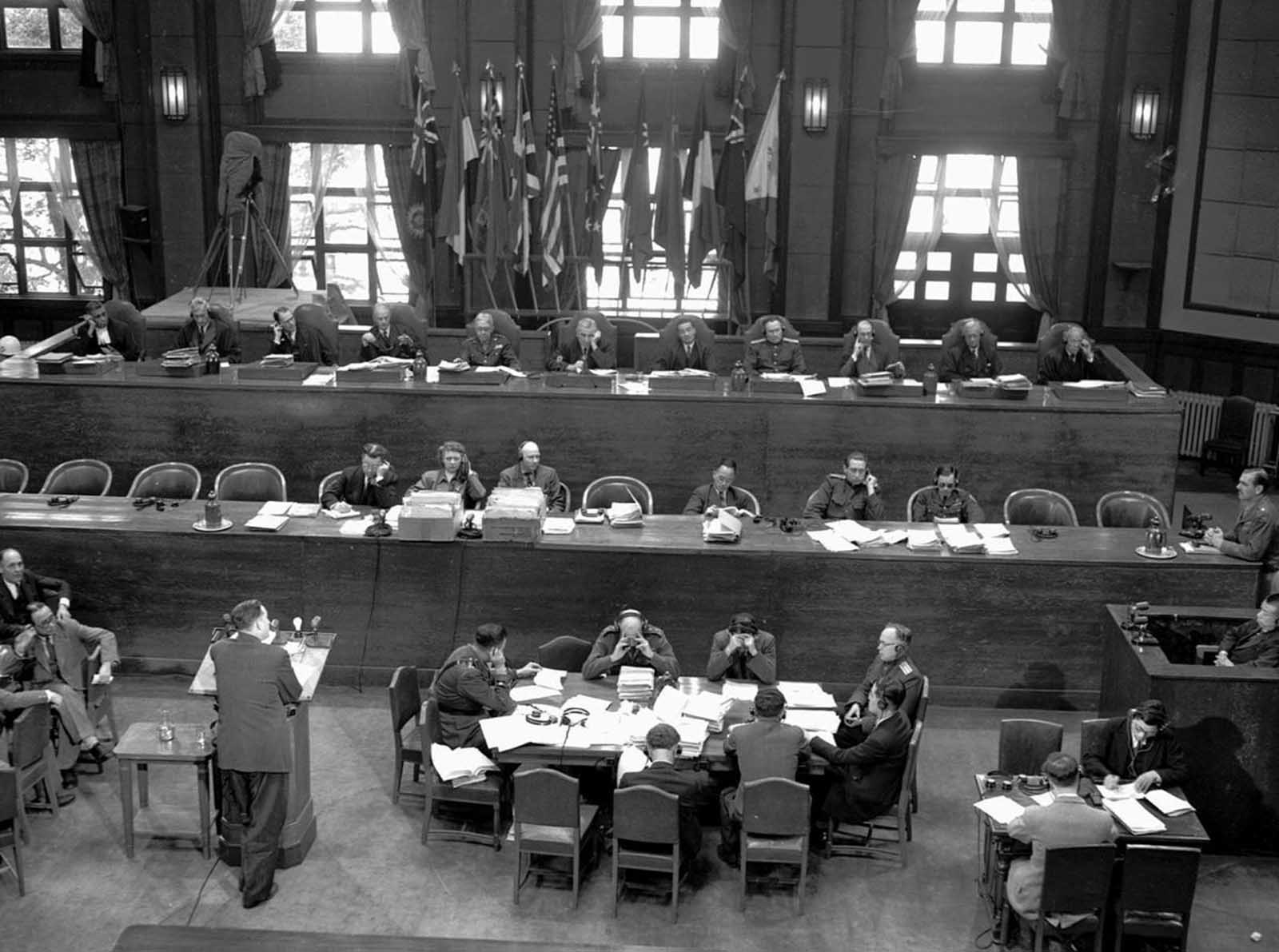 A general view of the International Military Tribunal for the Far East meeting in Tokyo in April, 1947. On May 3, 1946, the Allies began the trial of 28 Japanese civilian and military leaders for war crimes. Seven were hanged and others were sentenced to prison terms.
