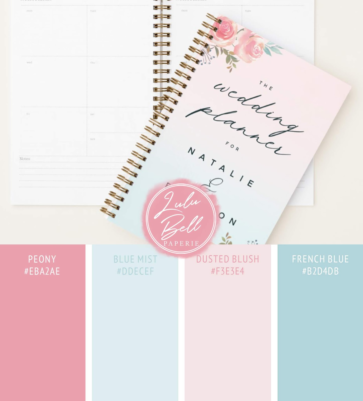 French Garden Floral Wedding Suite - Chic Personalized Wedding Planner Book and Color Swatches