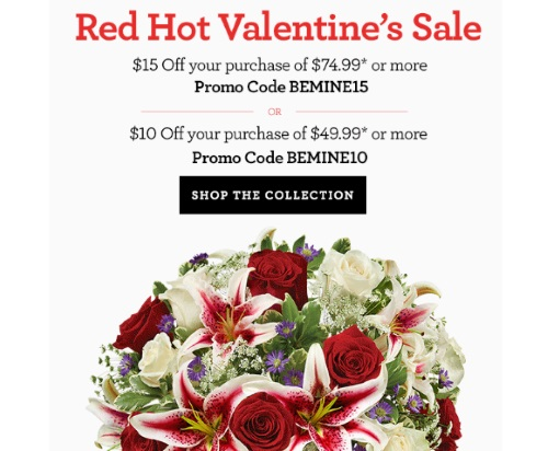 1800Flowers Red Hot Valentine's Sale $15 Off Promo Code