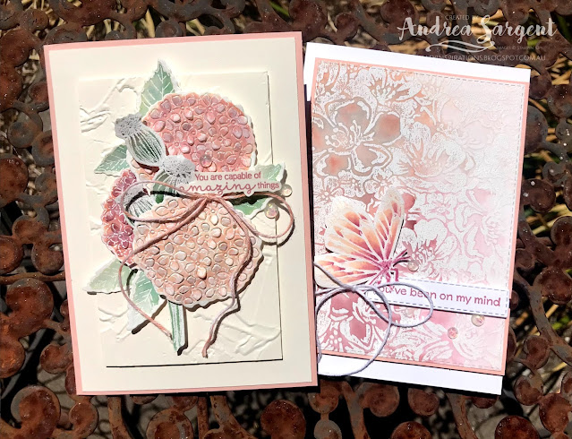A couple of cards showcasing Petal Pink and using watercolouring featuring Stampin' Up!s Hydrangea Haven and Wild Roses stamps.