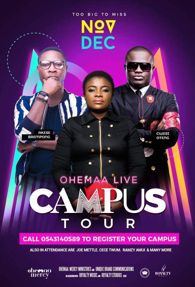 Ohemaa Mercy Campus tour kicks Off on Nov. 4