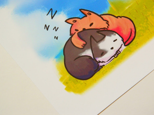 A close up of two sleeping cats, one is ginger, then other is black and white, from a custom pet art comission