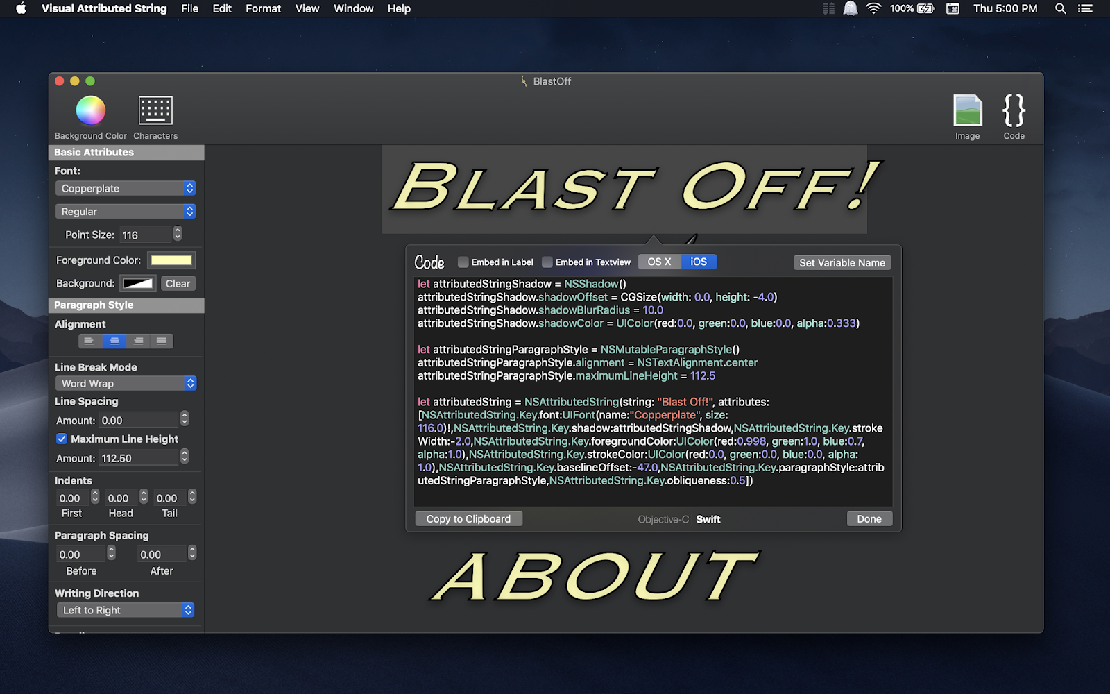 Visual Attributed String Mac app screenshot in Dark Mode on macOS Mojave with generated code popover displayed.