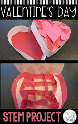 Perfect for Valentine's Day. This STEM Challenge will have your elementary students making a heart-shaped candy box to perfectly hold a specific amount of candy. #elementary #STEM