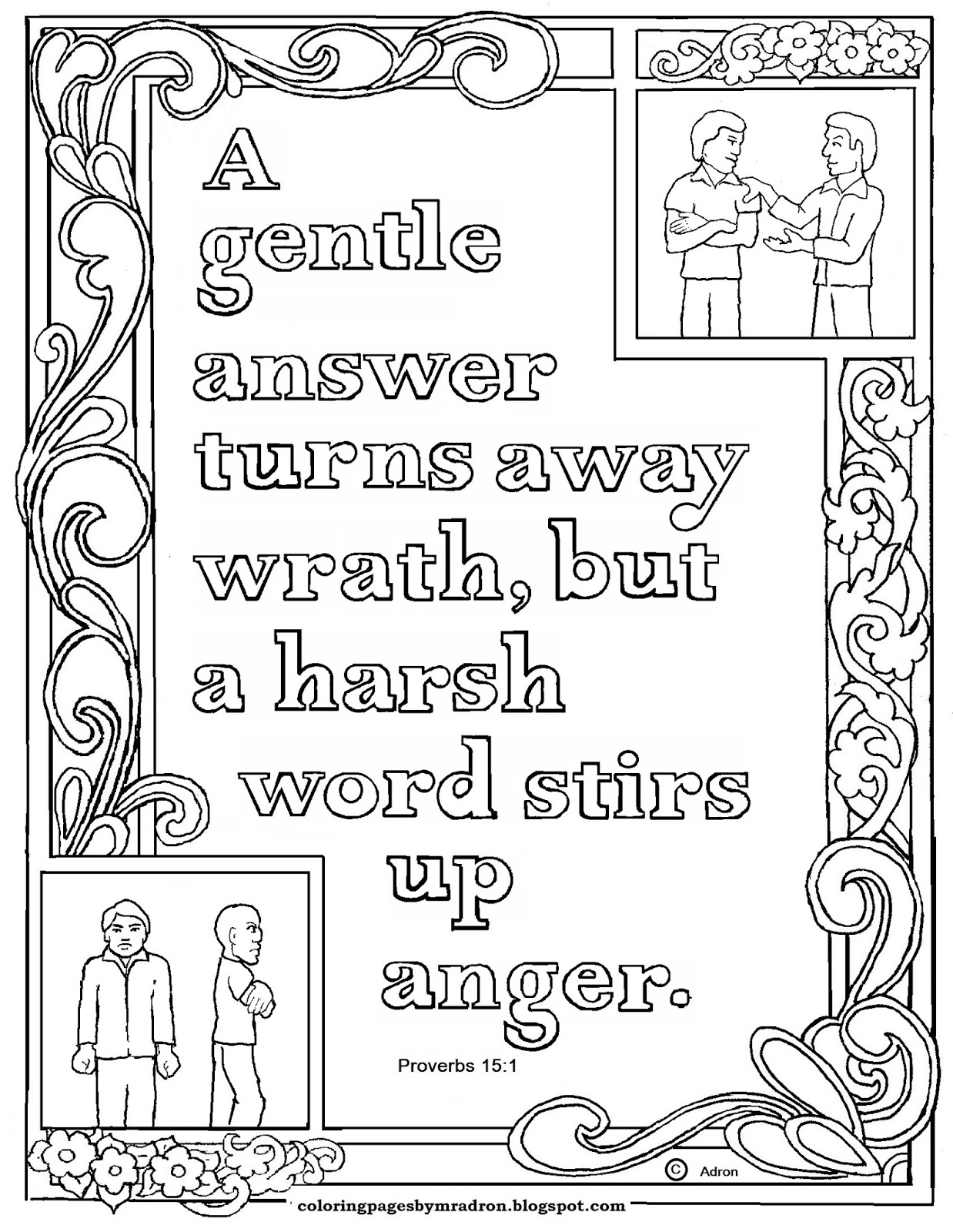 Coloring Pages For Kids By Mr Adron Proverbs 15 1 Print And Color Page A Soft Answer Turns