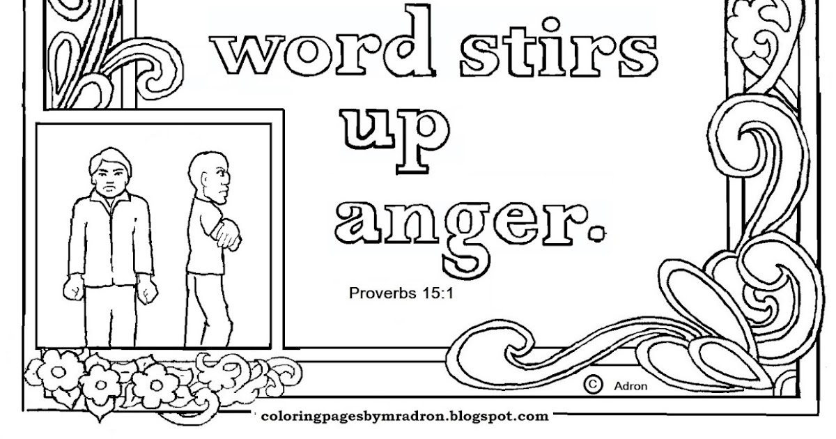 Coloring Pages for Kids by Mr. Adron: Proverbs 15:1 Print