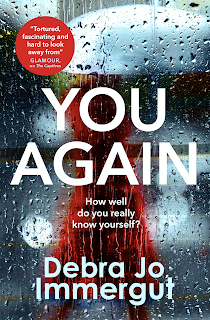 Book cover woman in a red coat seen through a rain covered window