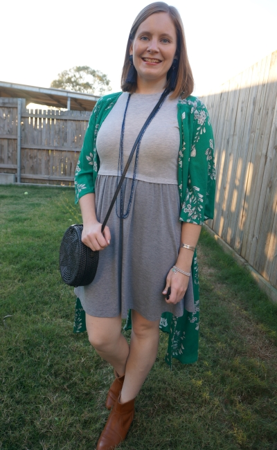 Jeanswest Delilah Long Line Kimono in Green Floral with gray skater dress dinner mum night out outfit with circle straw bag | away from blue