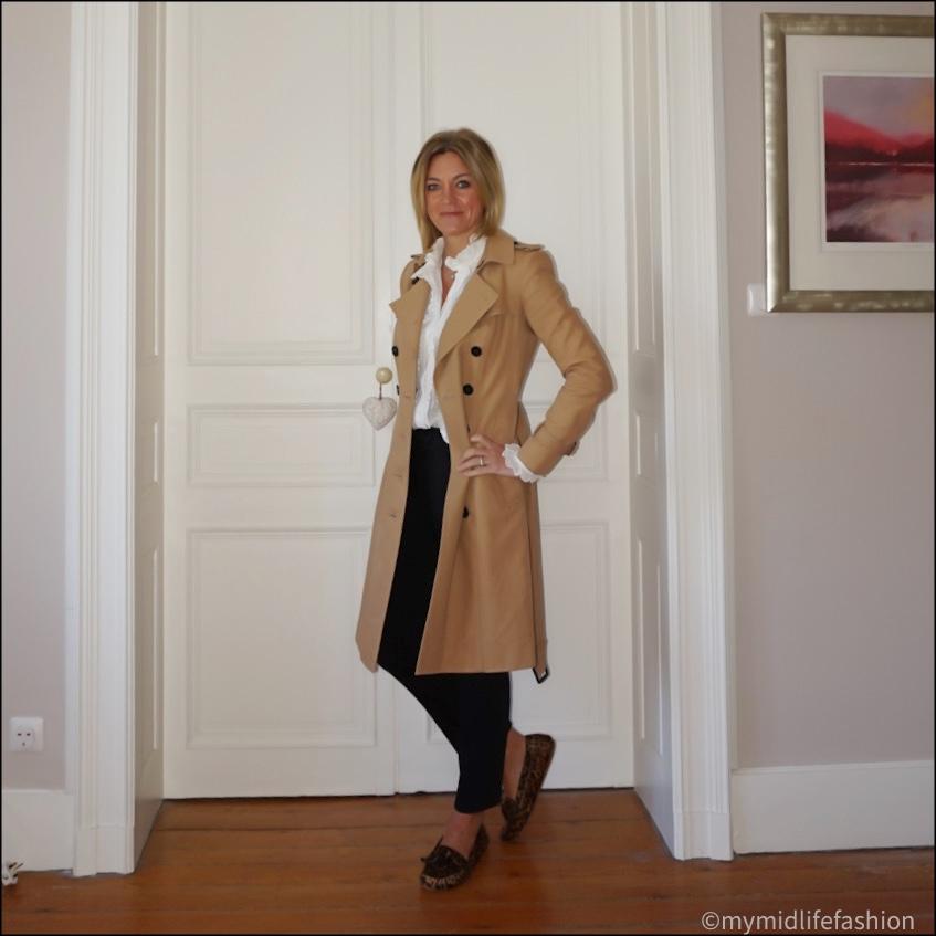 my midlife fashion, Burberry trench coat, Isabel Marant  Etoile frill detail blouse, baukjen the cigarette pant, Isabel Marant Etoile leopard print loafers