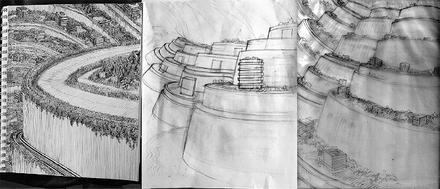 Left to right, Jan's first, stiff sketch in a sketchbook; Jody's response, based on it; and Jan's refinement on the idea, with more terraces, in response.