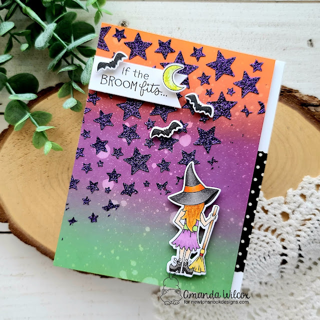 Halloween Witch Card by Amanda Wilcox   Brooms & Boos Stamp Set and Cascading Stars Stencil by Newton's Nook Designs #newtonsnook
