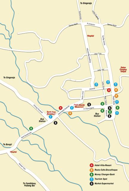 Gambar Peta Denpasar lengkap 4 Kecamatan