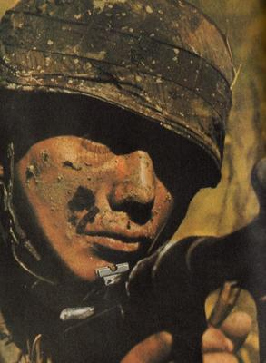 WW2 Close-up of german paratrooper with MP40