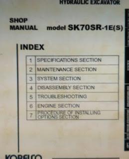 Kobelco sk70sr-1 shop manual excavator