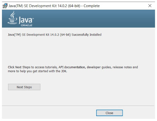JDK Installation Wizard Completion Screen