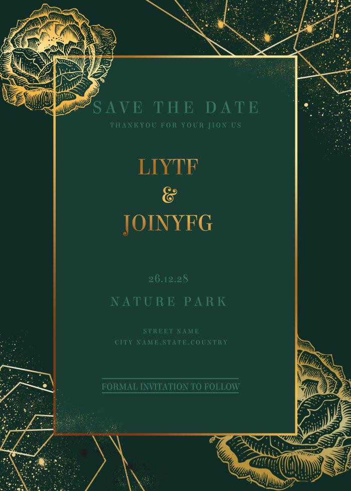 Emerald Gold Line Gold Powder Wedding Invitation