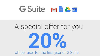 Try Google G Suite & get 20% discount off your 1st year!