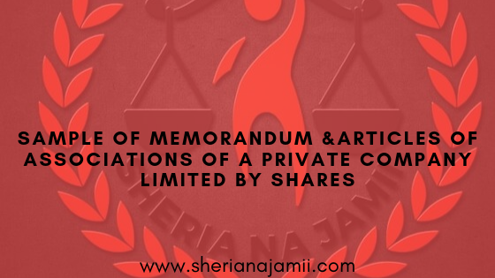 THE COMPANIES ACT (Cap. 212) COMPANY LIMITED BY SHARES MEMORANDUM AND ARTICLES OF ASSOCIATION OF EXAMPLE COMPANY LIMITED