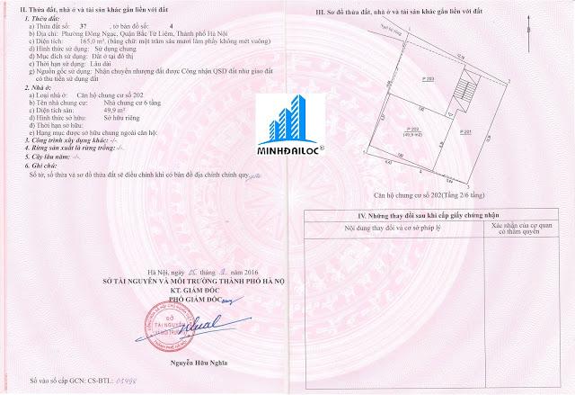 sổ hồng chung cư Minh Đại Lộc
