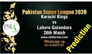 Karachi Kings vs Lahore Qalandars Pakistan Super League 26th T20 100% Sure