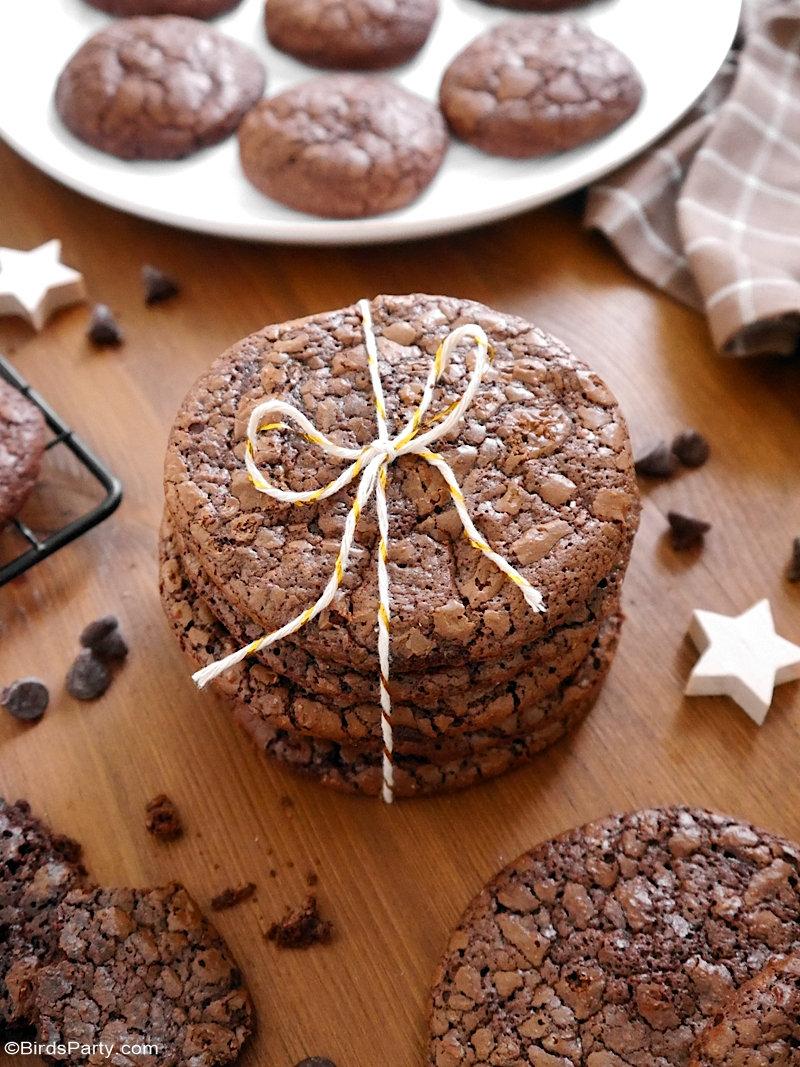 Cookies Brownie au Chocolat Sans Gluten - ces délicieux biscuits sont si faciles à préparer, parfaits pour Noël ou à offrir comme cadeaux comestibles!