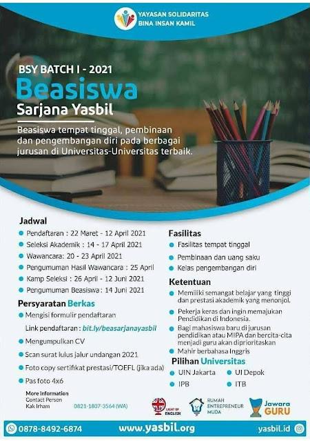 BEASISWA SARJANA YASBIL (BSY) 2021 Deadline 12 April