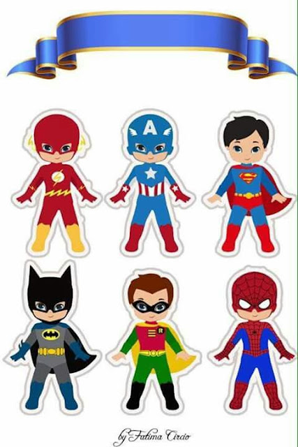 Superheroes: Free Printable Cake Toppers.