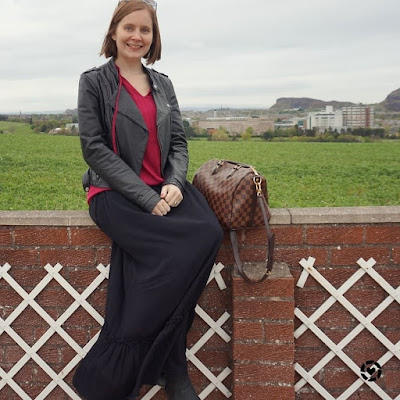 awayfromblue Instagram black leather jacket maxi skirt berry blouse in scotland