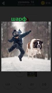 мальчик с собакой в шарфе в прыжке зимой