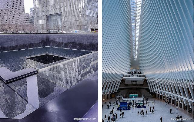 Memorial ao World Trade Center e a Estação Oculus, em Nova York