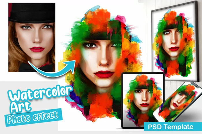 Watercolor Art PSD Photo Template