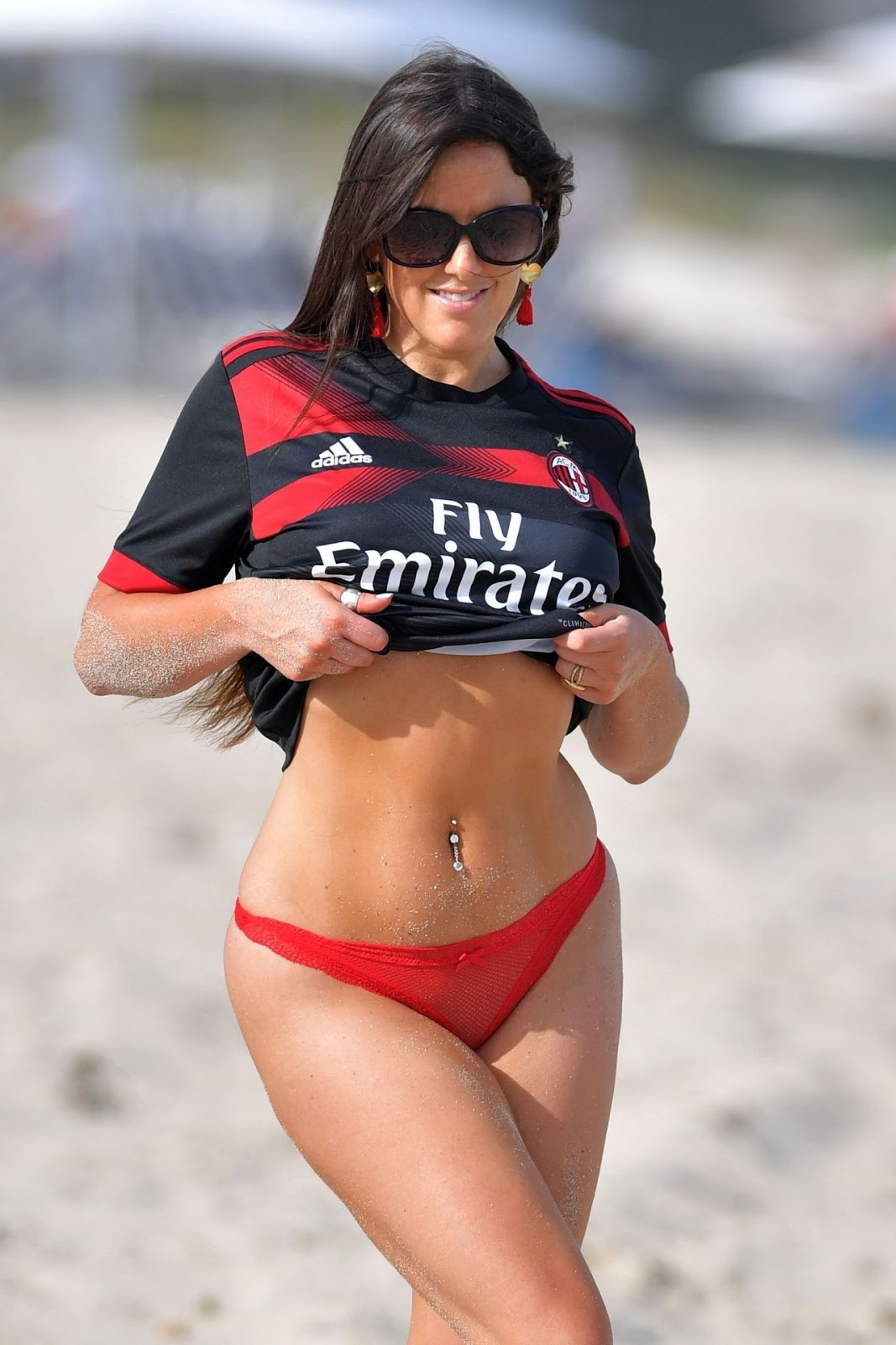Claudia Romani Wearing Real Madrid Football Club Jersey – Beach in Miami 03/12/2018