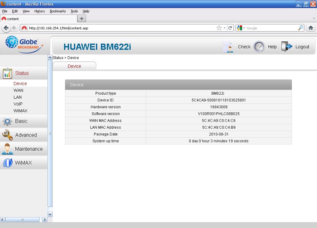 globe bm622i change mac address