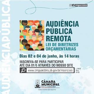 Audiências públicas virtuais vão discutir LDO nos dias 2 e 4 de junho