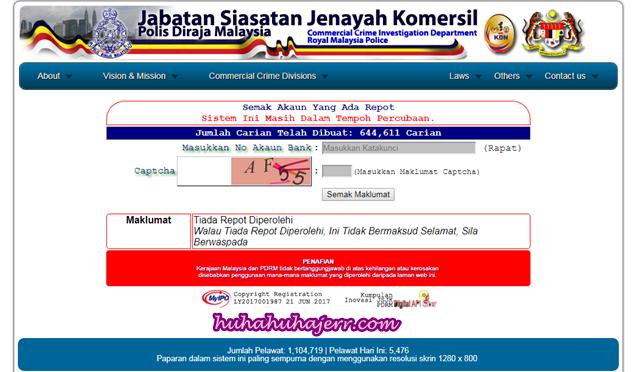 Semak Akaun  Penjual Online Di Laman CCID Sebelum Membeli Belah Secara Online