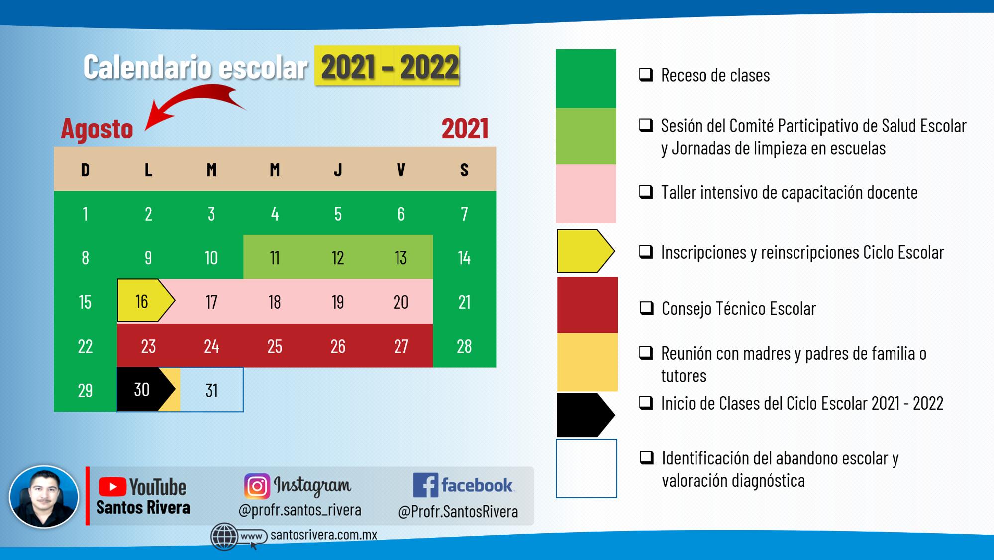 calendario escolar del mes de agosto 2021 - 2022