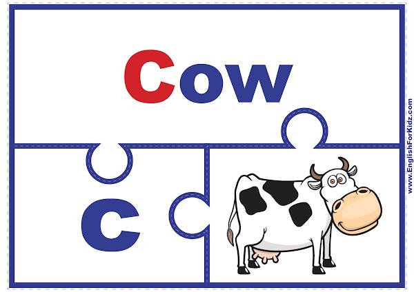 Alphabet match puzzle - printable ABC activities - letter C