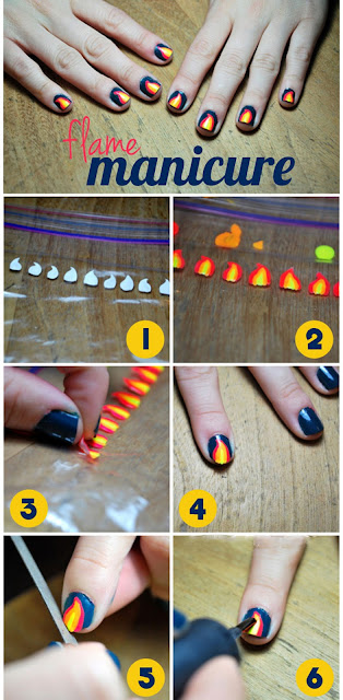 Flames Nail Art , Flames Nail Art Idea, Nail Art Ideas