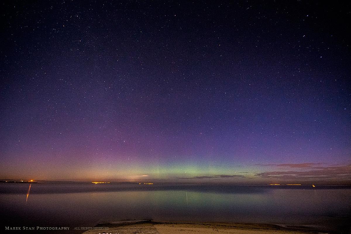 Zorza polarna sfotografowana 16.02.2016 r. ze wsi Rewa (powiat pucki), w województwie pomorskim. (Credit: Marek Stan)