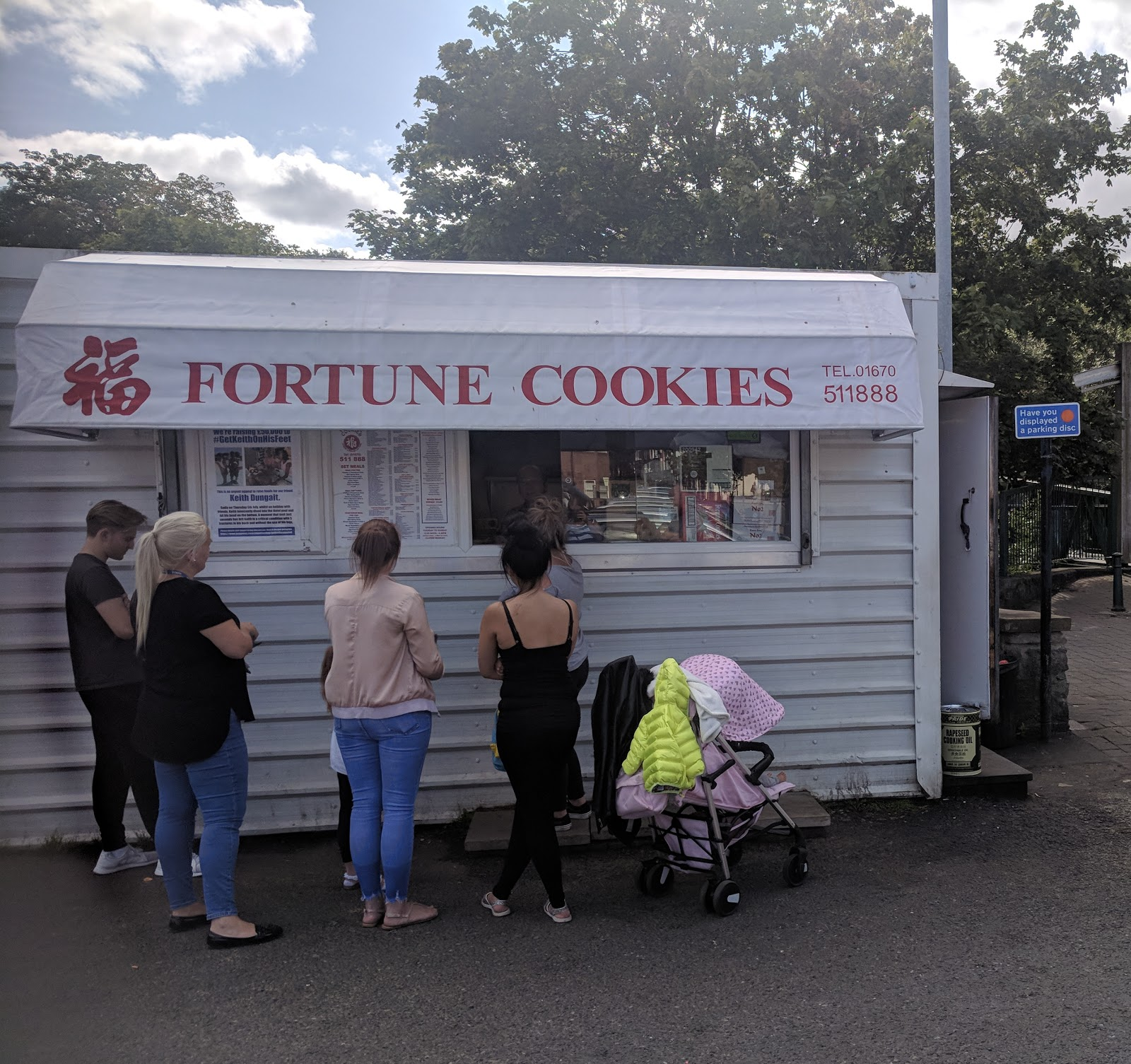 Why you must visit the Fortune Cookies Chinese Van in Morpeth  - van location in car park