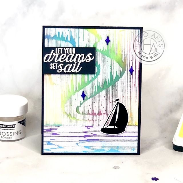#cardbomb, Maria Willis, #heroarts, #mymonthyhero, #mymonthyherojune2020, #stamp, #cards, #ink, #paper, #papercraft, #craft, #video, #videotutorial, #art, #color, #tonicstudios, #tonicstudiosusa, #nuvo, whale, northern lights, aurora borealis, background techniques,
