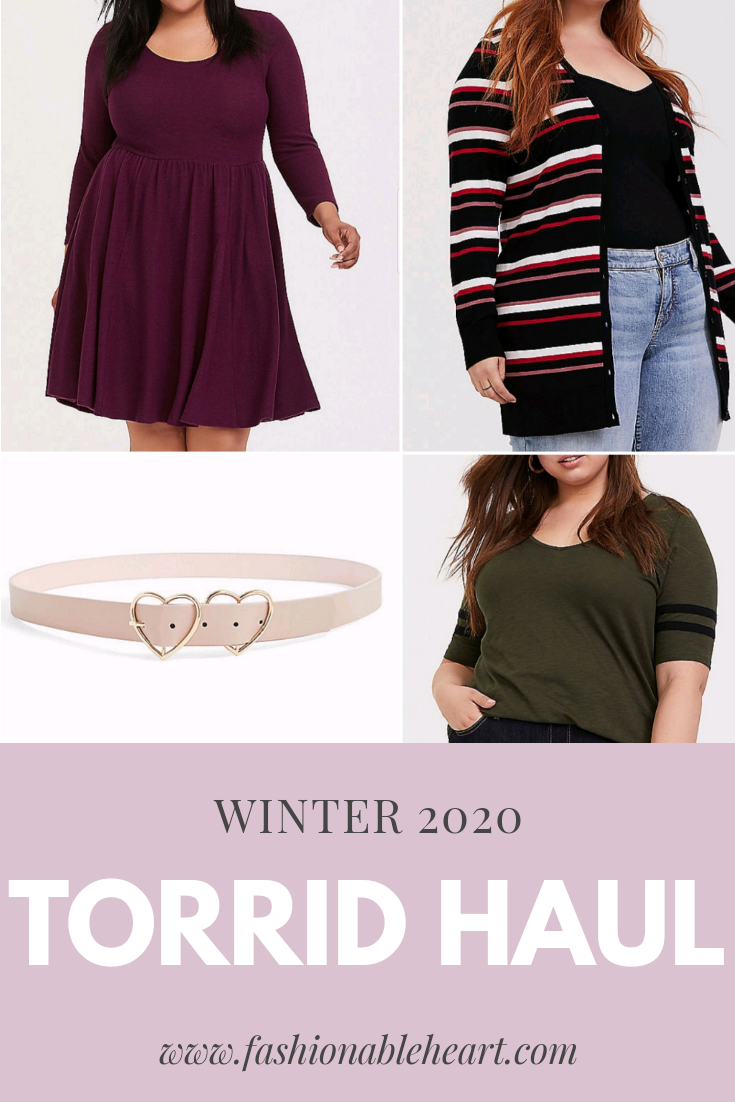 bblogger, bbloggers, bbloggersca, bbloggerca, canadian beauty bloggers, beauty blog, plus size blogger, plus sized blog, clothing, torrid, haul, winter 2020, babydoll dress, striped boyfriend cardigan, football tunic tee, double heart belt, heart belt, cardigan, sweater weather, torrid fashion, psblogger