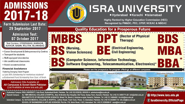 Admissions Open in Isra University Islamabad - 2017