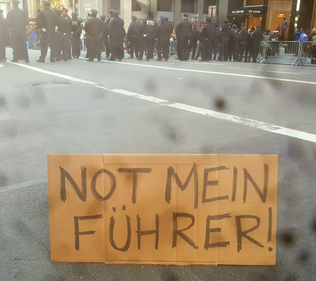 Photo of Trump Protest sign - Not Mein Fuhrer. Lugenpresse - The Lying Press. Hitler and the lying press, and Trump and the fake news. marchmatron.com
