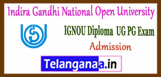 IGNOU Indira Gandhi National Open University UG PG Diploma Admission 2018-19