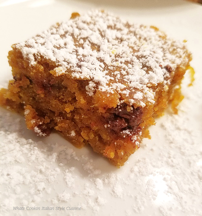 this are a delicious bar with all the fall flavors. These bars are pumpkin, spices and zucchini. They are cut into squares, orange in color with chocolate chips and dusted with powdered sugar