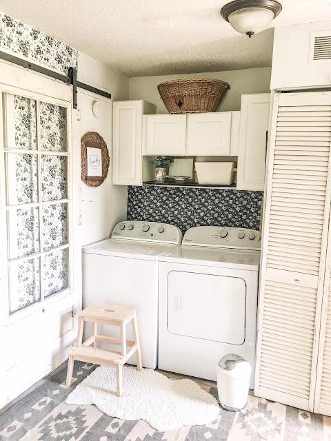 vintage sliding door to laundry room