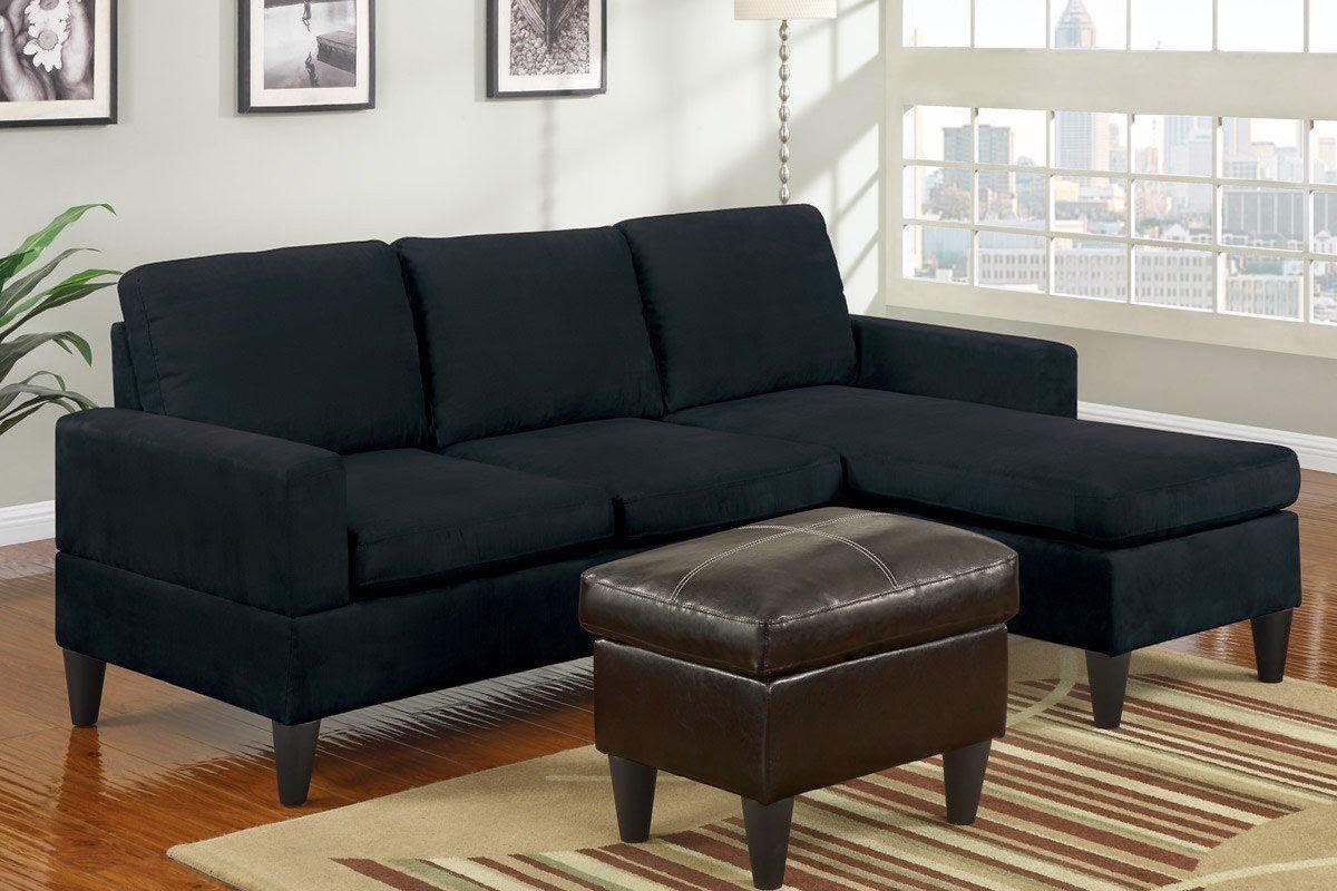 Design Black Couches black couch sectional microfiber with reversible chaise and ottoman