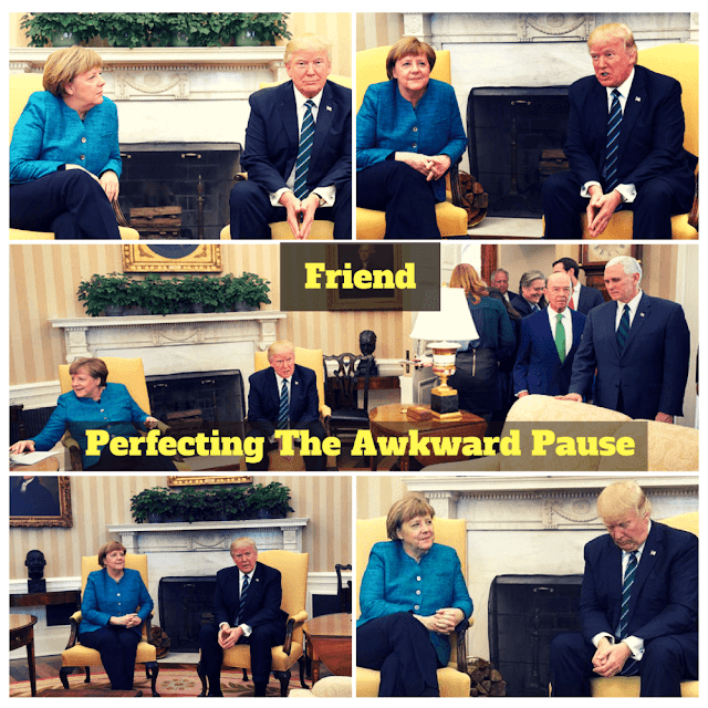 Awkward Pauses: German Chancellor Angela Merkel meets President Donald Trump in the oval office.