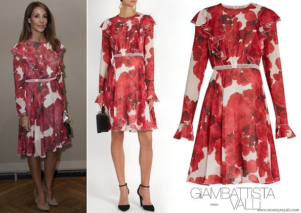 Princess Marie wore Giambattista Valli rose-print ruffled silk georgette dress